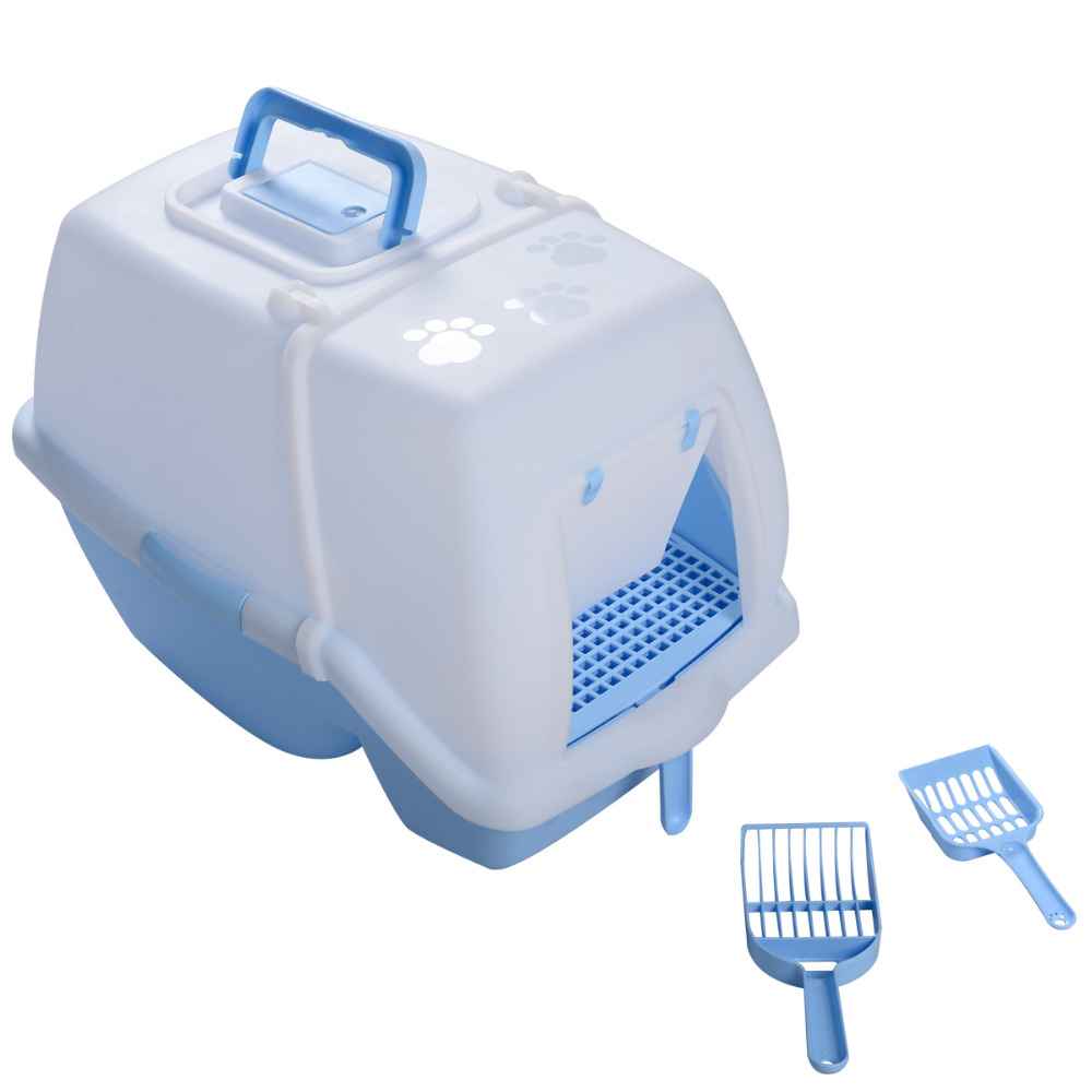 Blue & white Portable Pet Cat Hooded Litter Box Toilet w/ Pan Scoops