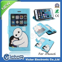 Novelty Cute Printing Design Leather Cover Case for iPhone 6