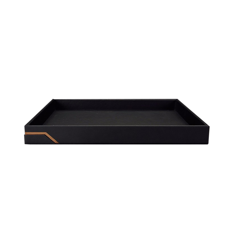 Black PU Leather Wooden Tray Serving Tray Hot Selling For Hotel