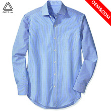 100% combed cotton for formal men long sleeve dress casual pinstripe official shirts OEM no iron and wrinkle free