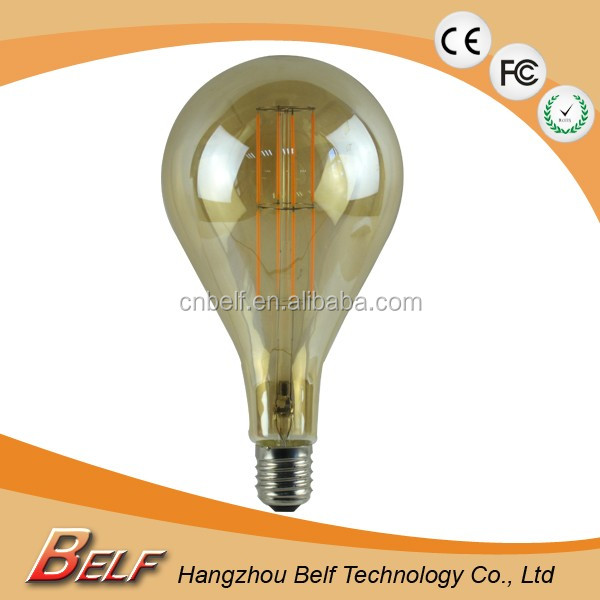 High Quality Amber Glass large retro bulb A165 led Filament dimmable 230v e27 base warm white cri > 90 1800K 3W