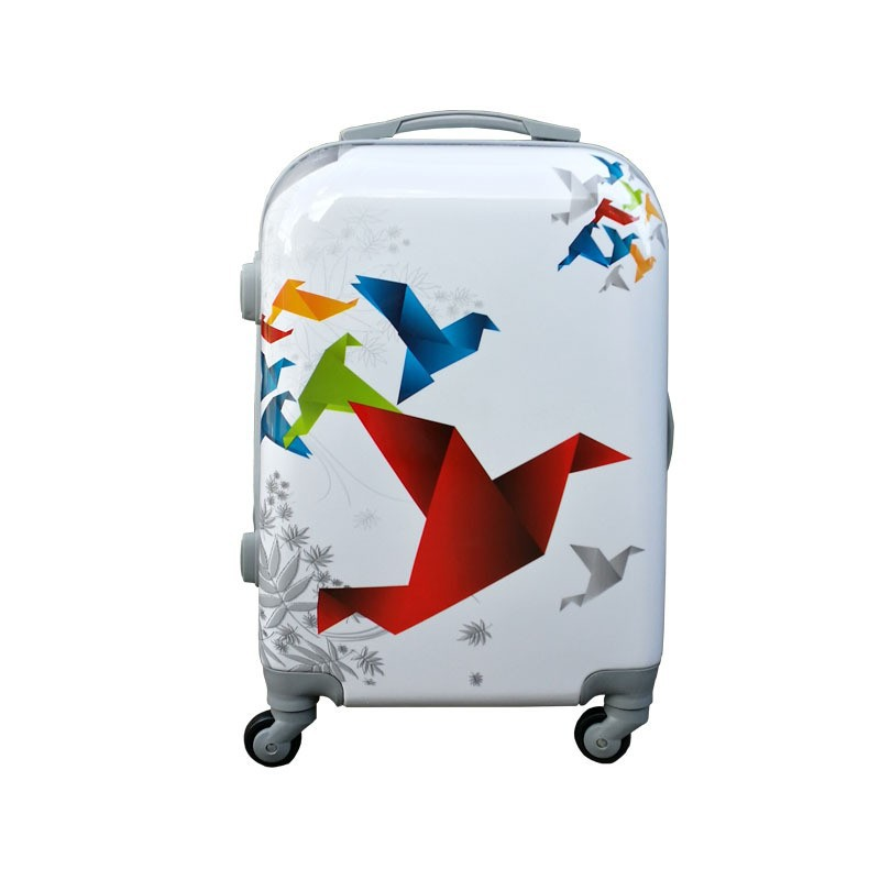 Fashion White abs/pc luggage with 4 wheels and printing design