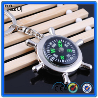 Novelty design custom logo hiking gift round metal blank compass keychain with gift box