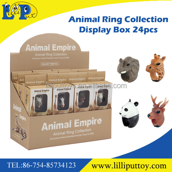 Small plastic animal toy new design animal head finger ring toy for kids
