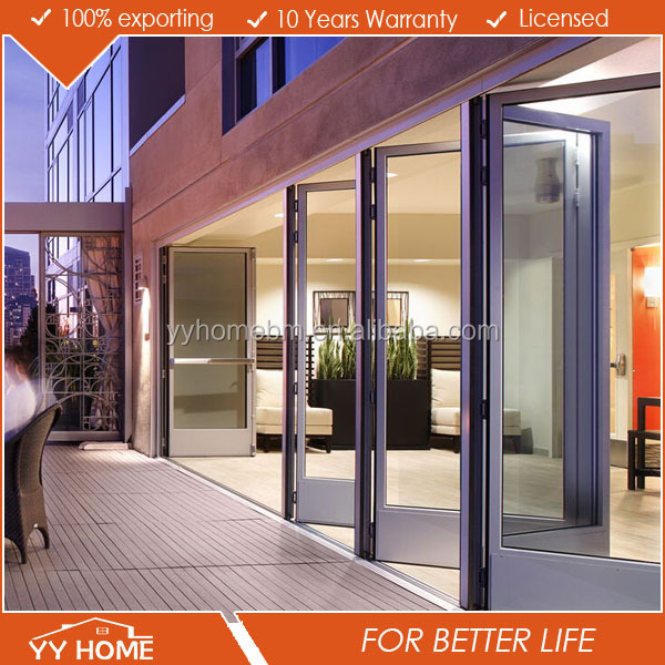 ALIBABA Y Y windows and doors double tempered glazing folding door roller