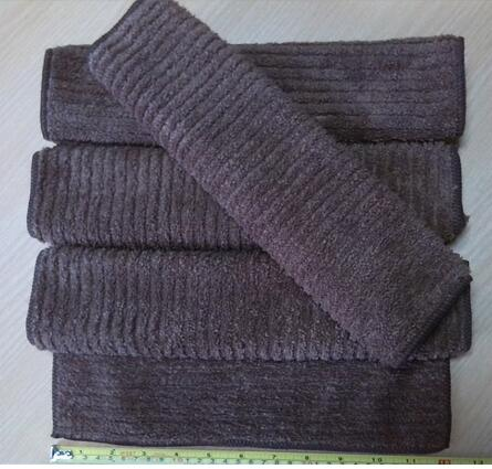 Coffee Color Hand towels Microfiber Stripe Towel Coral Fleece Fabric