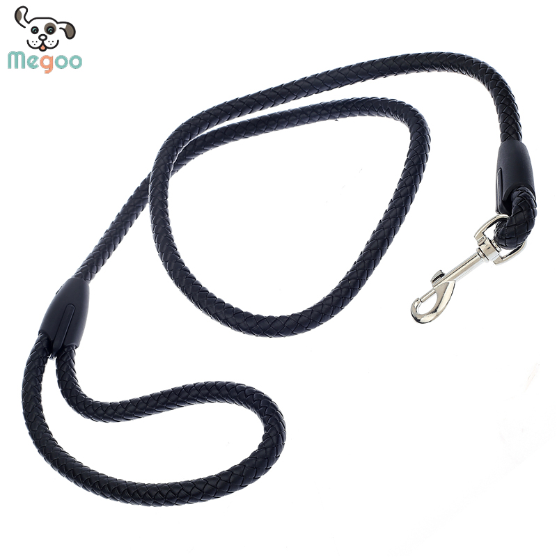 PU Leather Dog Leash 4 Feet Pet Leash Solid Black Puppy Training Lead