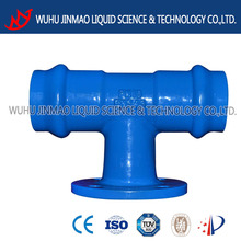 double socket tee with flanged branck ductile iron pipe fitting