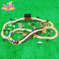 New hottest educational kids play city train set wooden train tracks W04C036