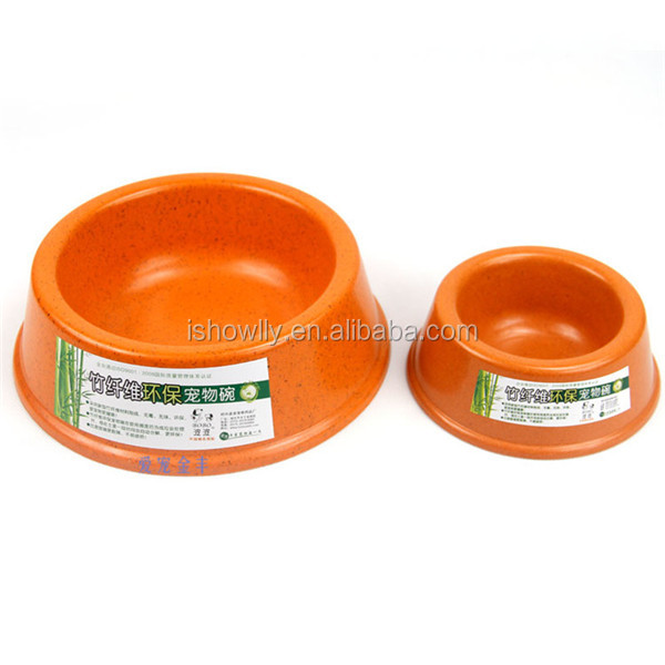 Environmental bamboo pets feeder bowl orange color