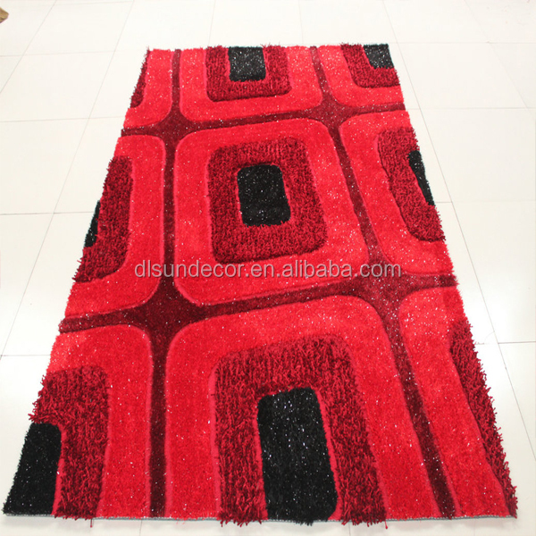 3d anti slip polyester shaggy area rugs carpet with modern design