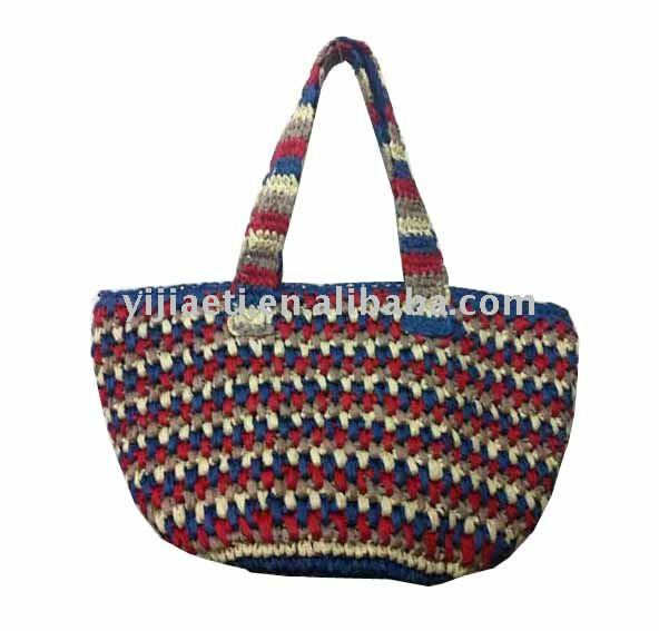 lady's crocheted bag paper straw material
