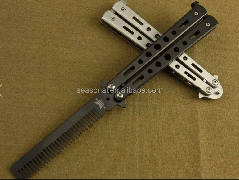Wholesales Multi function Stainless Steel Comb Metal Practice Balisong Trainer Training <strong>Knife</strong>