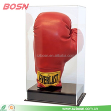Customized latest style transparent acrylic boxing glove display hand case wholesale
