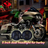 Motorcycle spare parts 5 inch led motorcycle headlight motor daul headlamp for harley davidson