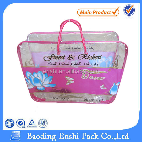plastic clear printing pvc bags with handles