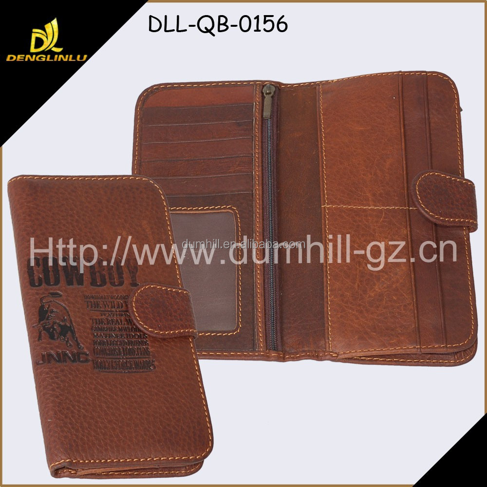 Factory Price Fashion Design Quality Leather Men's wallet With Belt Closure