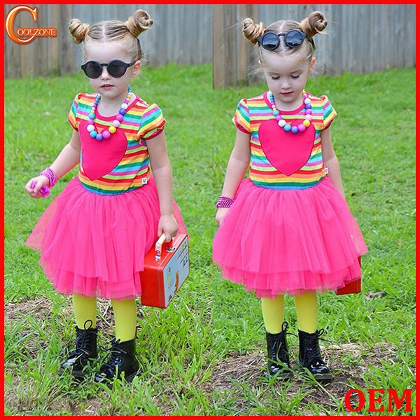 2015New Kids Girls Rainbow Stripe Red Tutu Princess Dress Skirt 5-6Years Clothes