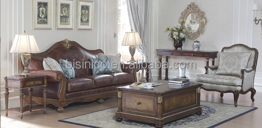 Vintage Genuine Leather 3 Seat Sofa, American Retro Furniture, Luxury Palace Living Room Set