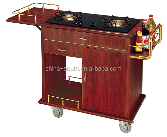 Wooden Gas Cooking Range Trolley (Double Cooking Ranges)