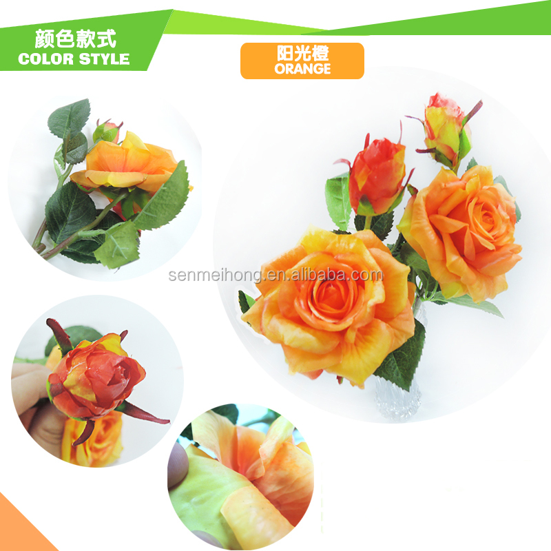 Wholesale 49cm Long Stem Wedding Bouquet Artificial Rose Silk Fake Flower