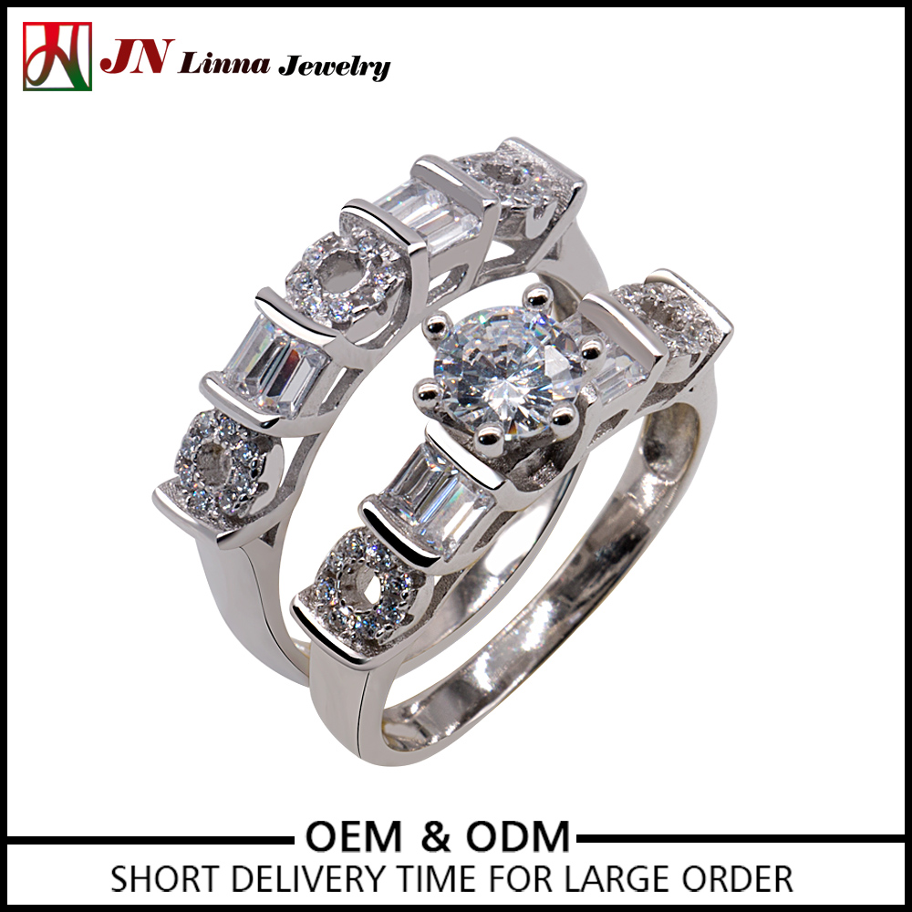 2017 Wholesale New Design JNlinna cubic zircon R351 s925 silver rings two 2 finger ring 925 silver couple ring