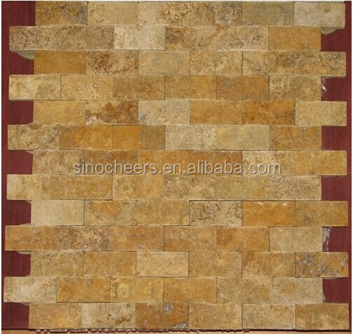 Yellow Gold Tumbled Split Face Bricks Pattern Travertine Mosaic