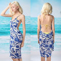 New Ladies Beachwear Blue Floral White Cover Up Sarong swimwear dress