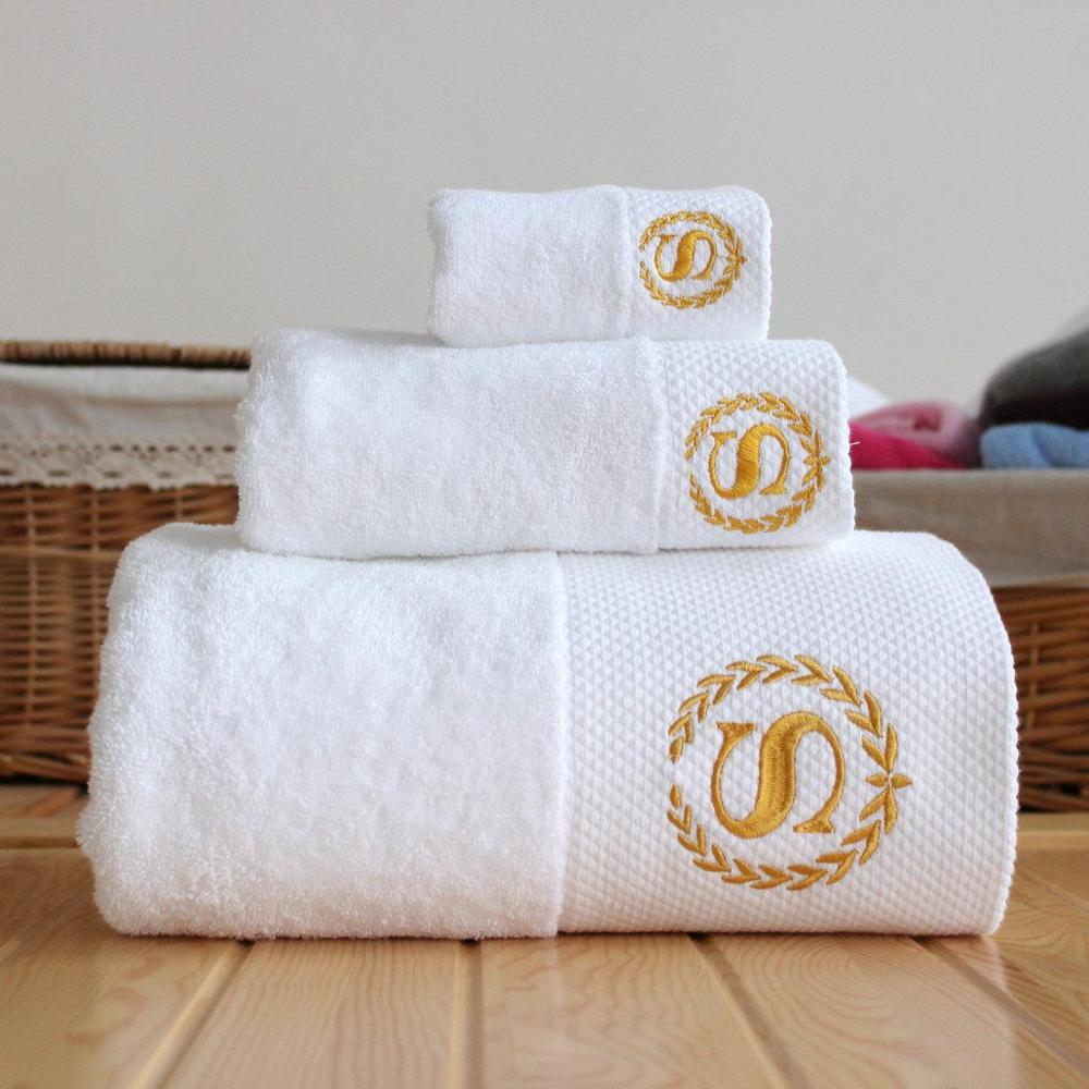 Custom logo embroidery towels bath set luxury hotel white 100 <strong>cotton</strong> in Guangzhou