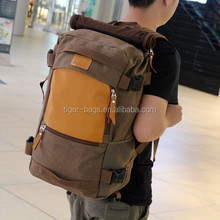 Custom mountainer canvas material backpack bag hiking camping backpack bag
