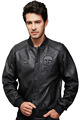 Mens Logo OEM Service Bomber Leather Jacket