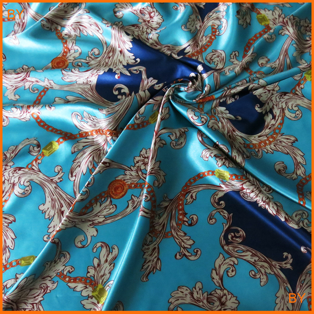 Only Abit Stretch Satin Charmeuse Imitate Silk Material Retro Flowers Chains Print Satin Fabric