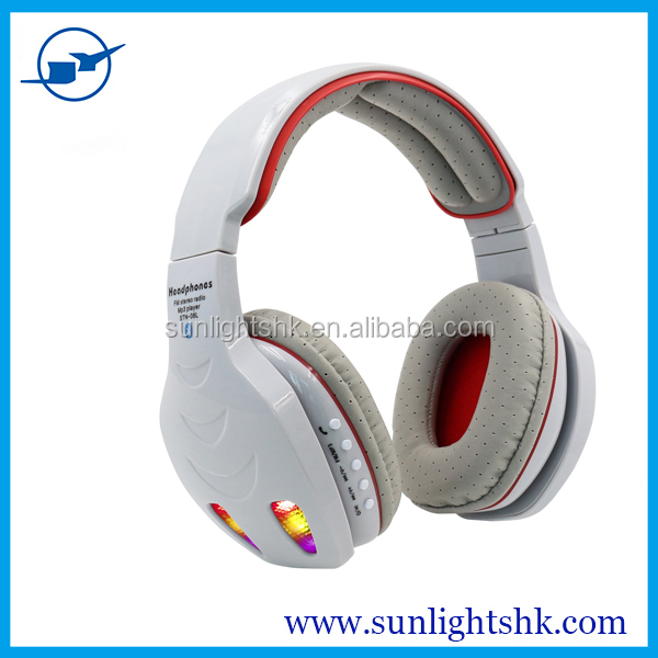 latest design new style cute earphone and headphone headset colourful earphone head phones with bluetooth call flash card mp3