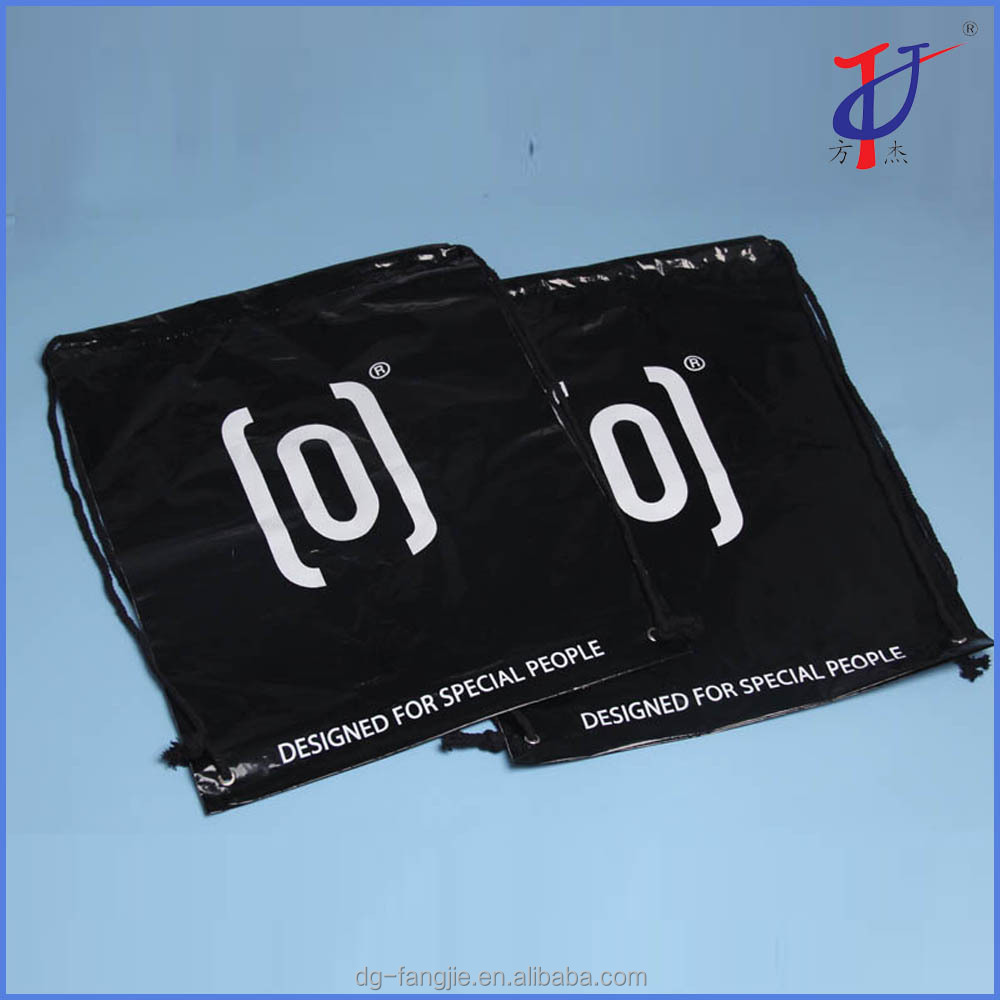 Wholesale cheap Customized printed Big black LDPE plastic drawstring laundry bag