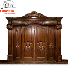 FD0026-Custom Made Antique Animal Carved Teak Wood Main Entry Door Design