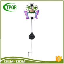 New Products Decorative Butterfly Windmill Stake Metal Animal Solar Garden Light