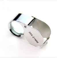 Keychain Style Stainless Steel 30x Folding Magnifying Glass with Light
