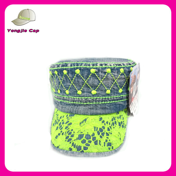 new fashion design washed denim fluorescent green hat military hat with lace