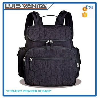 Hot Sale Black Large Daddy Diaper Bag Backpack