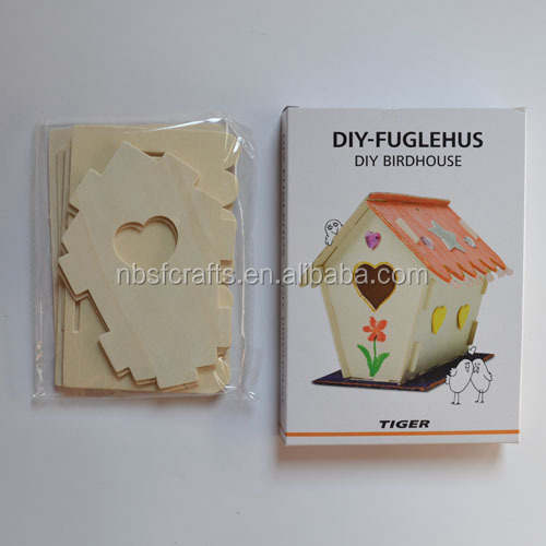children wooden toy/diy painting kit/kids diy bird house