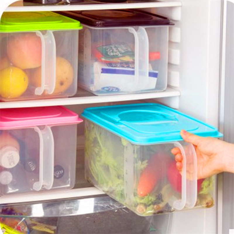 Plastic Storage Containers Square Handle Food Storage Organizer Boxes with Lids for Refrigerator Fridge Cabinet