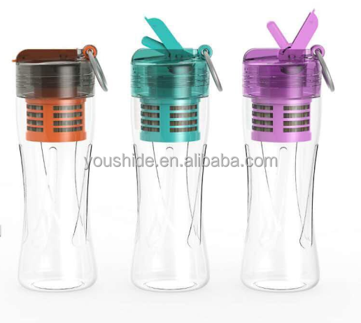 New Design BPA free portable plastic water bottle with filter,multifunctional bottle