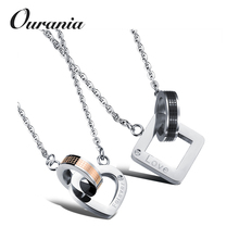 "Fashion Stainless Steel Heart-shaped Square Ring ""Forever Love"" Pendant Necklace Set Couple Chain"