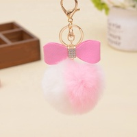 cute bicolor faux rabbit fur ball car key ring bag pendant key chains with pu bow knots