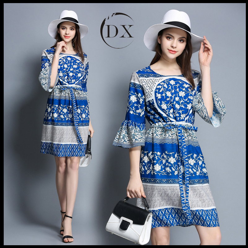 2017 summer new ladies dress Chinese wind print silk A word dress