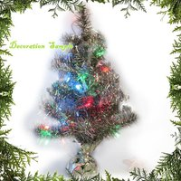 "X'Mas 16"" Gold Silver Merry Christmas Artificial Pine Tree Desk Top Size Foldable"