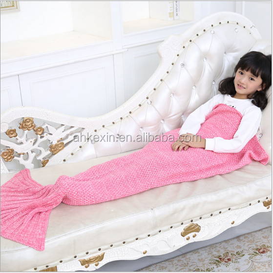 New arrival good quality 70% orlon fabric Multiple Colour Customized mermaid blanket tail