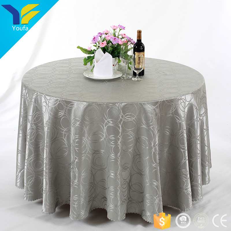 100% polyester wedding round table cover jacquard damask tablecloth