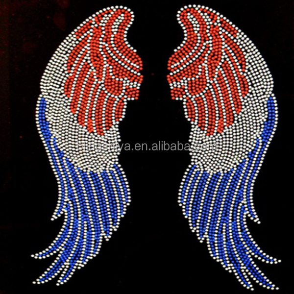 Colourful Wings Rhinestone Transfer Iron On Patches