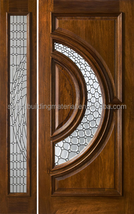 Double Glass Inserted Solid Wood Door